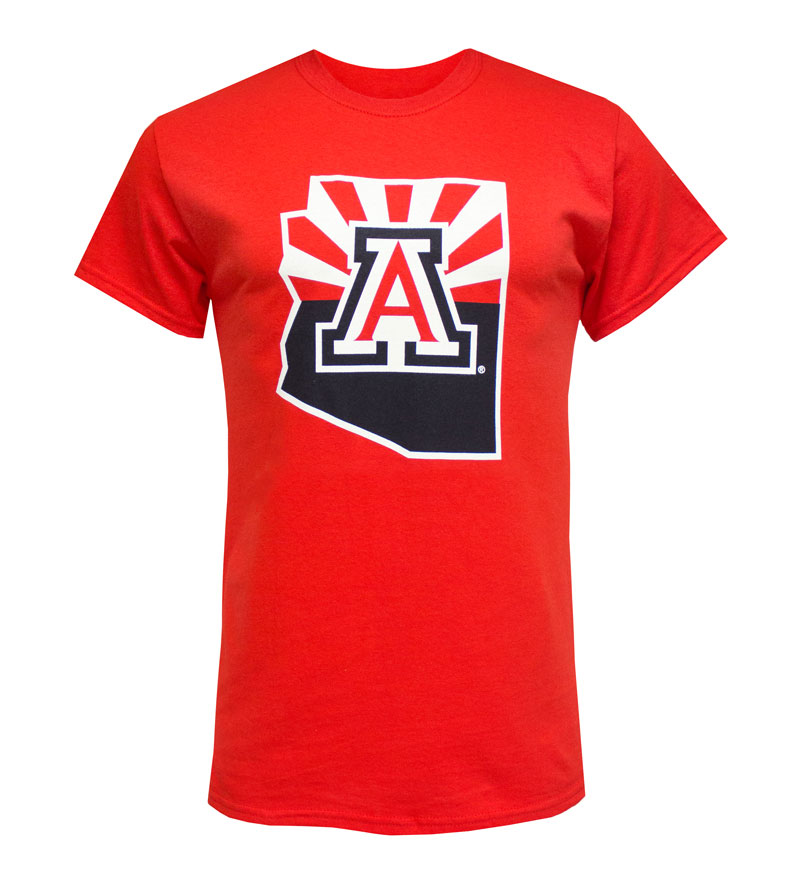 Image For Official Arizona Wear: Logo State Outline Sunrise Tee - Red