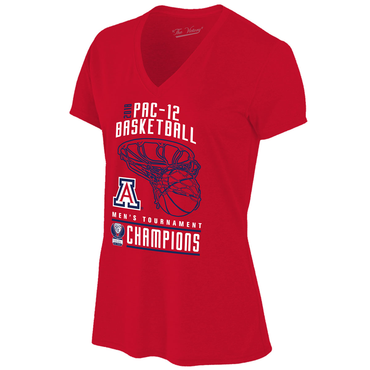Image For 2018 Arizona PAC-12 Men's Basketball Tourn Champs Ladies Tee
