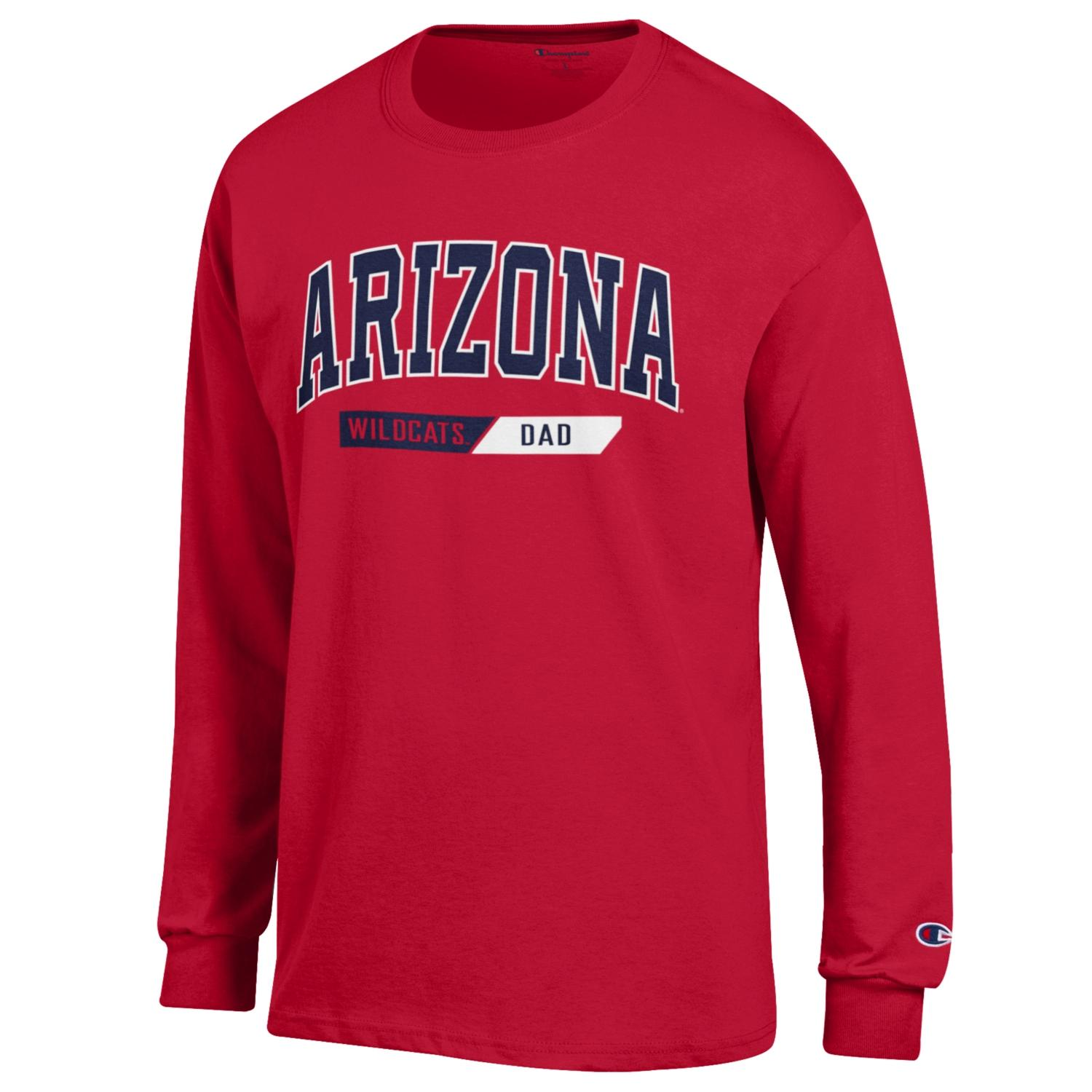 Image For Champion: Arizona Wildcats Dad Long Sleeve Jersey Tee - Red