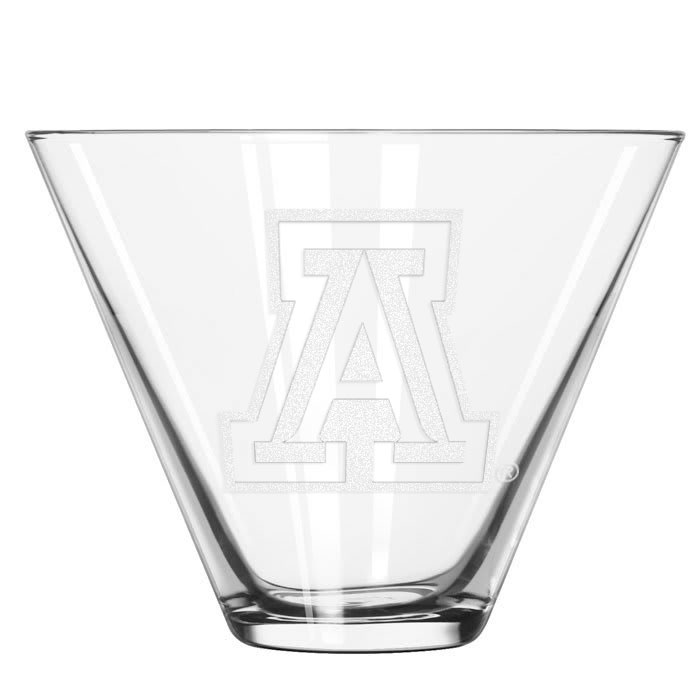 Image For Glass: Arizona Etched Team Logo Stemless Martini