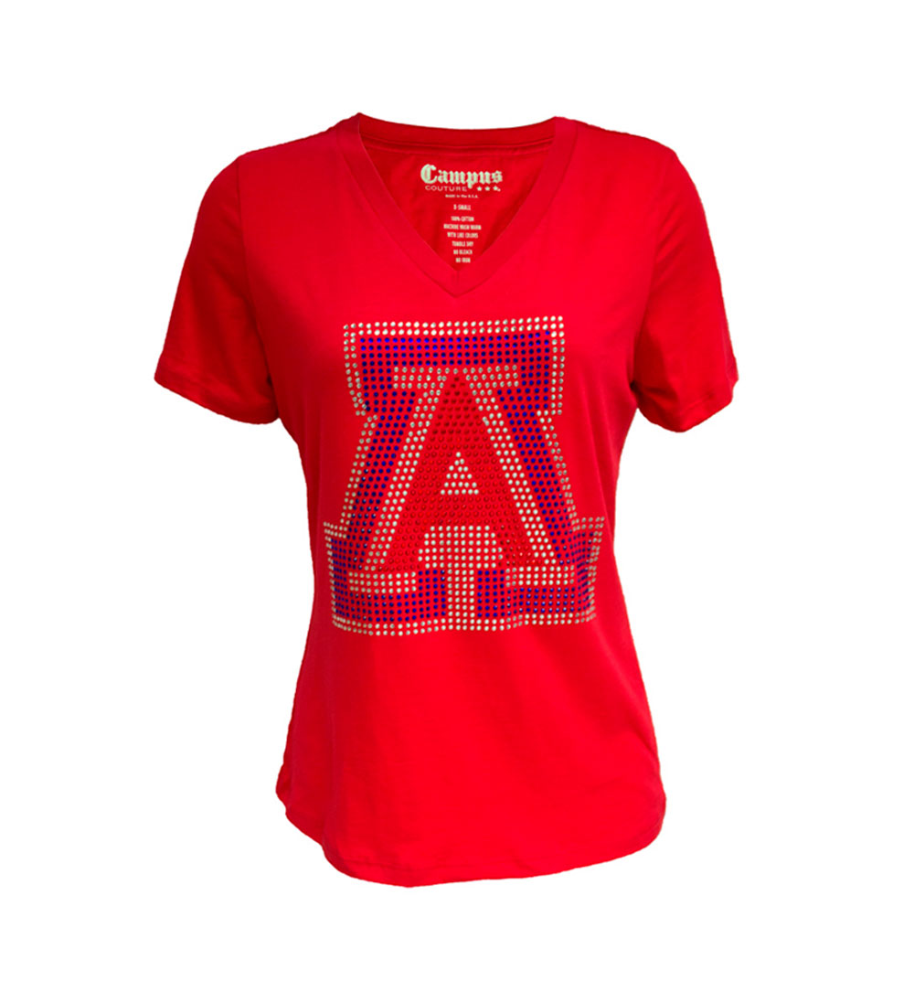 Image For Retro Brand: Arizona Rhinestone V-Neck Red Tee Youth
