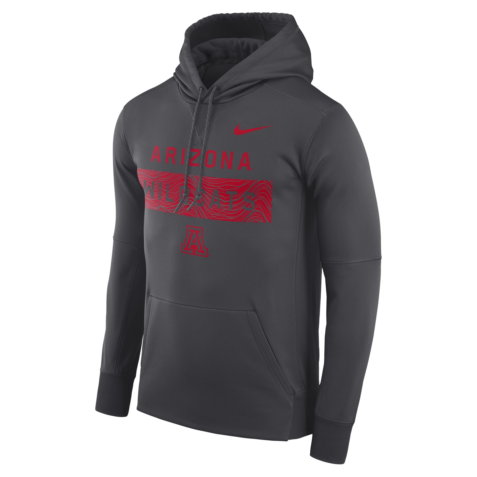 Image For Nike: Arizona Wildcats Therma Fit Fleece Hoodie - Charcoal