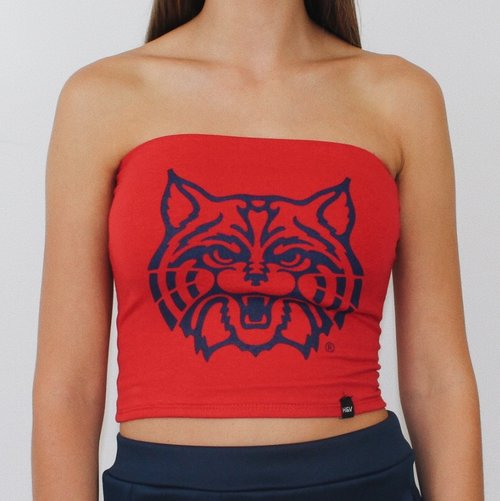 Image For Hype & Vice: Arizona Long Tube Top Cat Logo - Red