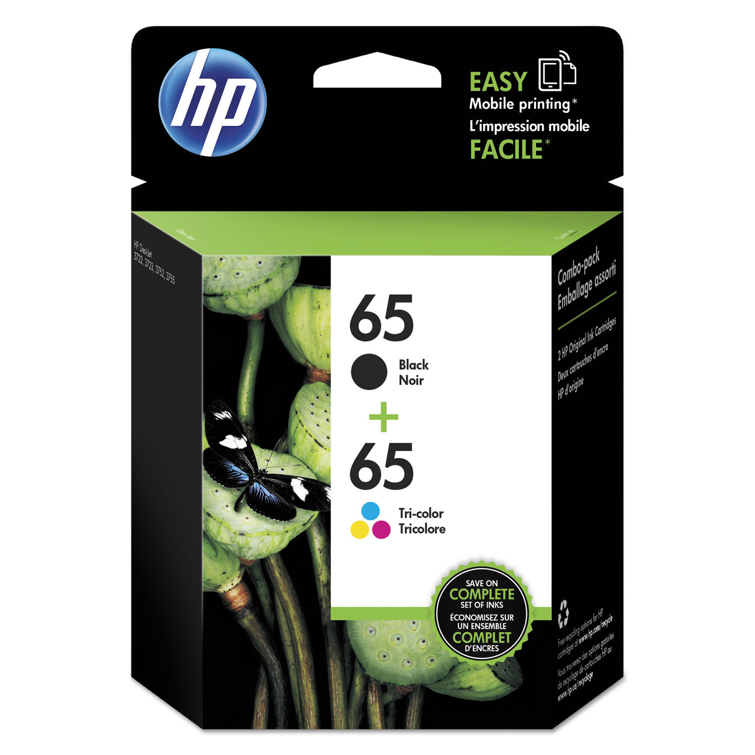 Image For HP - 65 2-pack Ink Cartridges - Multicolor/ Black