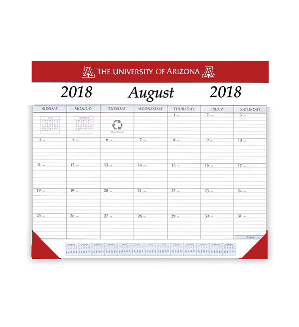 Image For University of Arizona 2018-2019 Academic Desk Pad Calendar