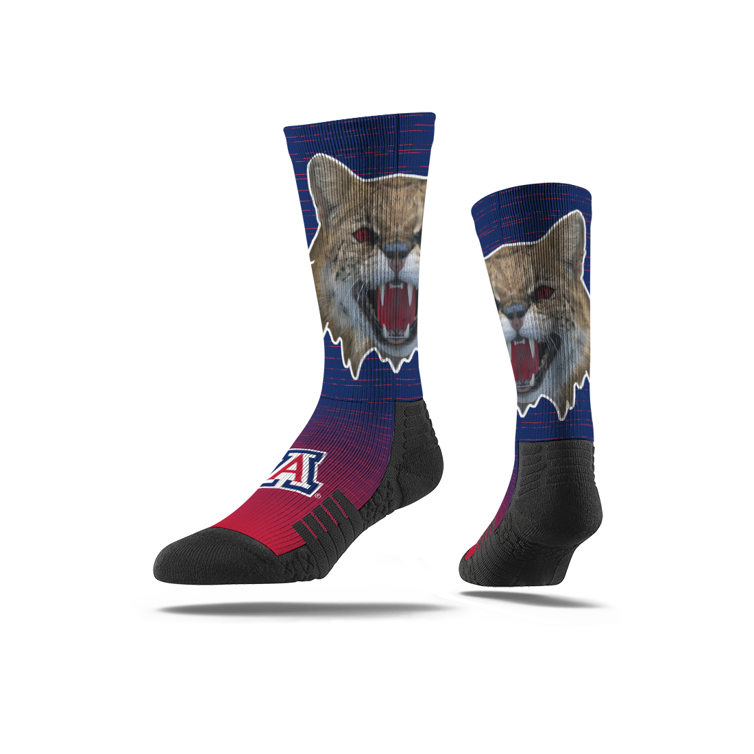 Image For Strideline: Arizona Wildcat Face Crew Socks