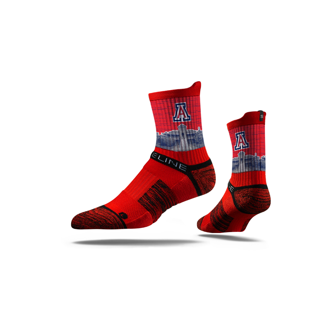 Image For Strideline: Arizona Old Main Mid Crew Socks Red