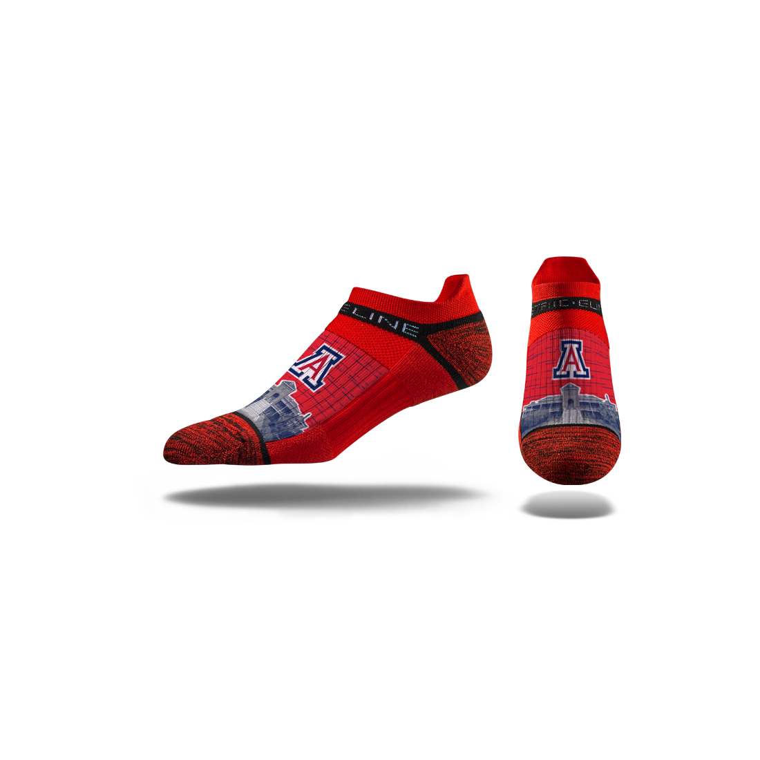 Image For Strideline: Arizona Old Main No Show Crew Socks Red