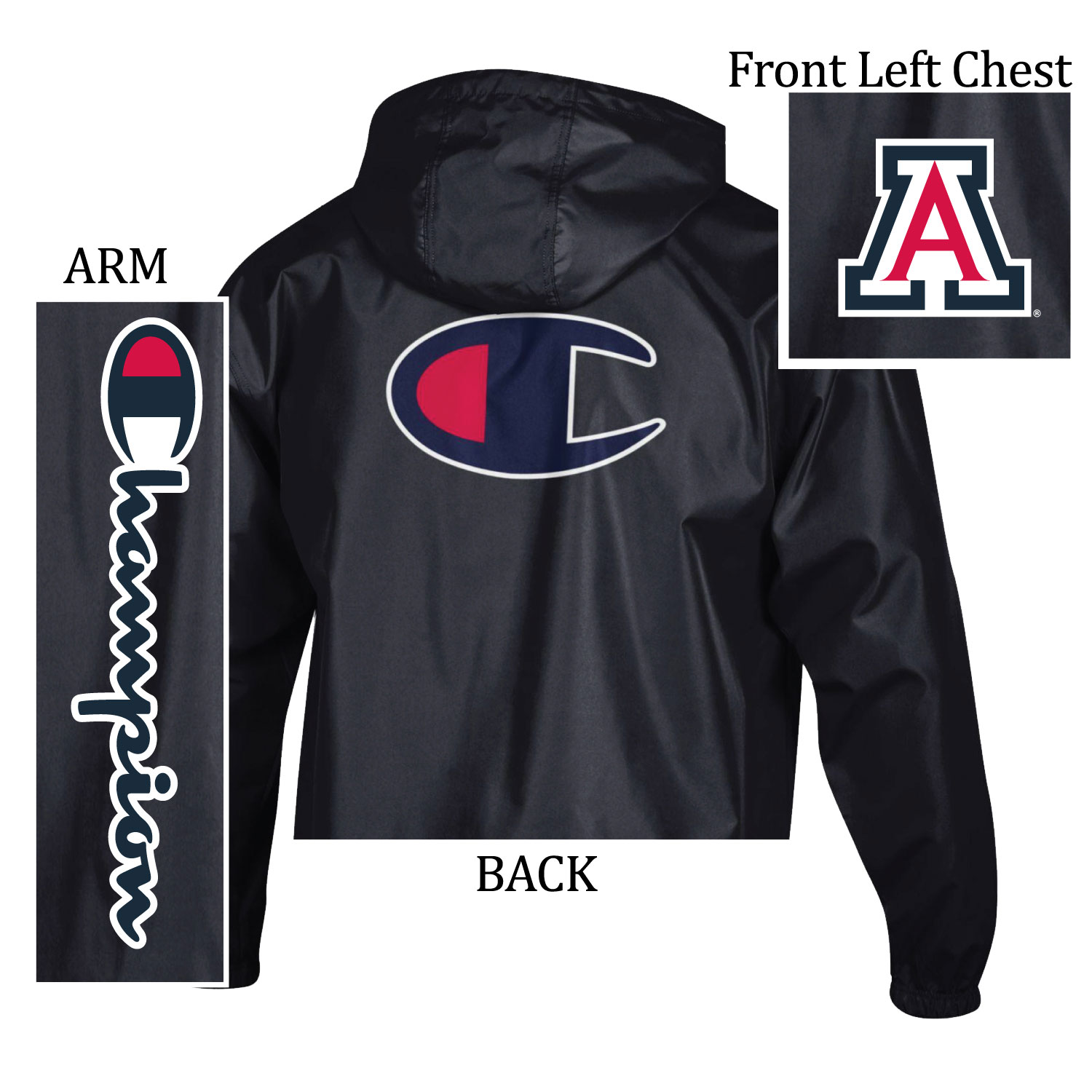 688ca0243 Champion: Arizona Wildcats Printer Packable Jacket - Black