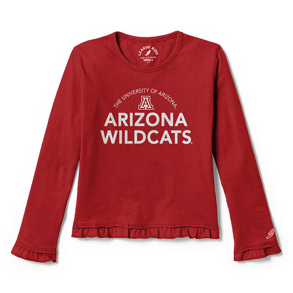 589d69c2 Image For League 91: Arizona Youth Girls Ruffle Long Sleeve Tee-Red