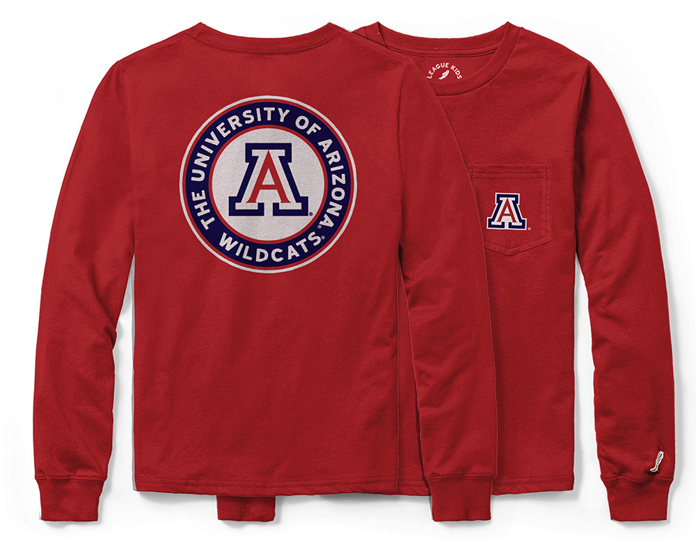 Image For League 91: Arizona Youth Long Sleeve Pocket Tee-Red