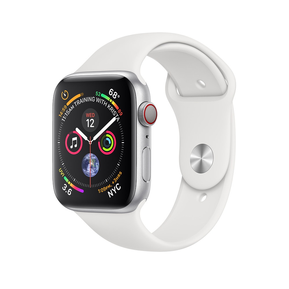 Image For Apple Watch Silver Alum Case White Sport Band GPS+Cellular