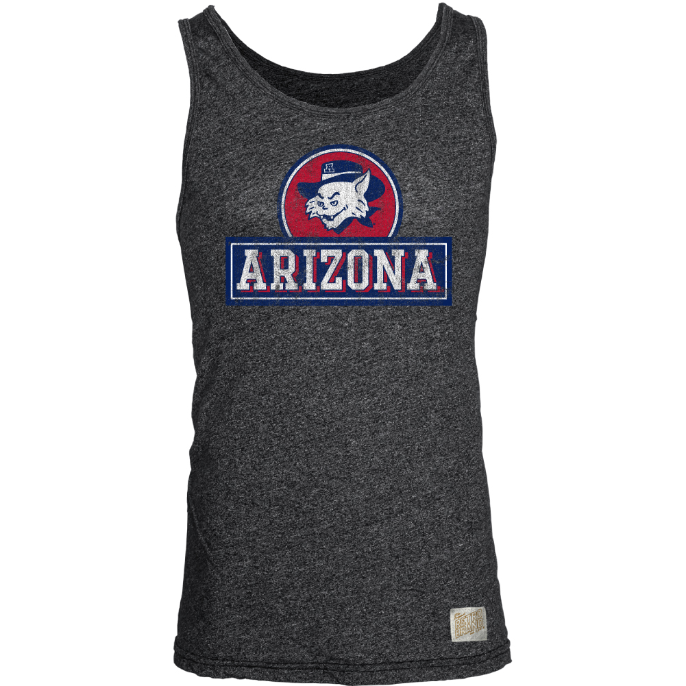 Image For Retro Brand: Arizona Vintage Wildcat Mock Twist Tank-Charcoa