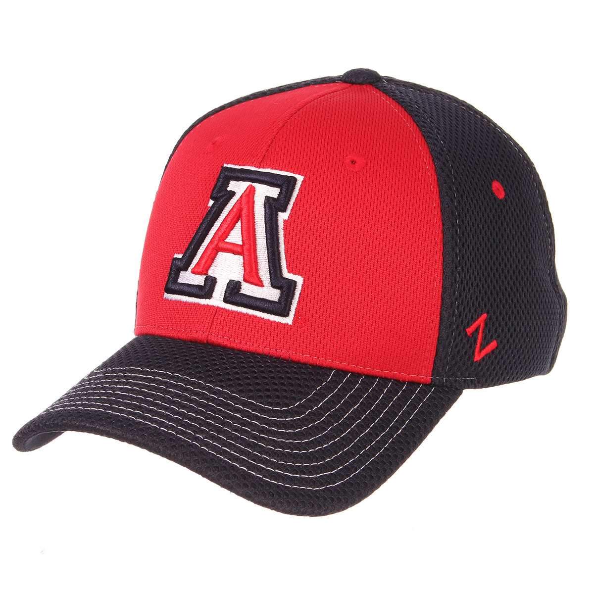 Image For Zephyr: Arizona Restitch Fitted Hat - Navy/Red