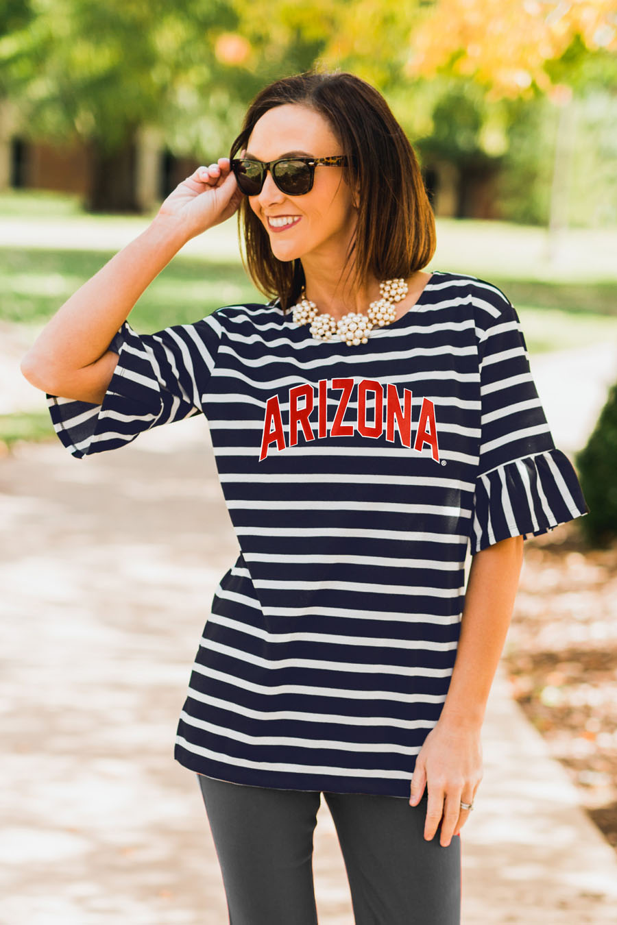 Image For Gameday Couture: Arizona Saved By The Bell Ruffle Sleeve Top