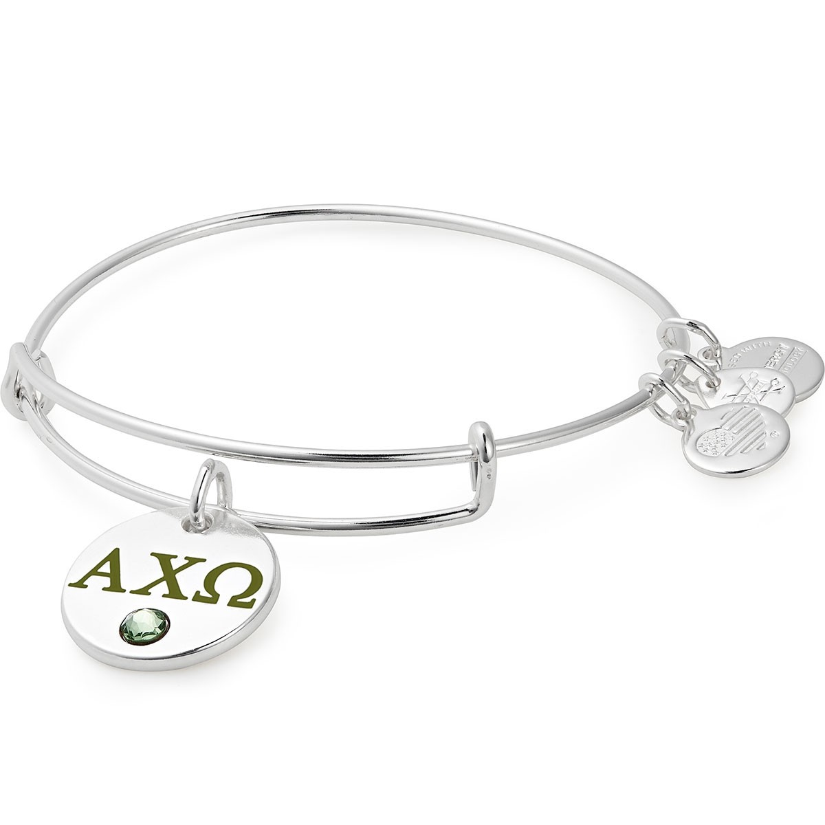 Image For Alex and Ani: Alpha Chi Omega Color Infusion Charm Bangle