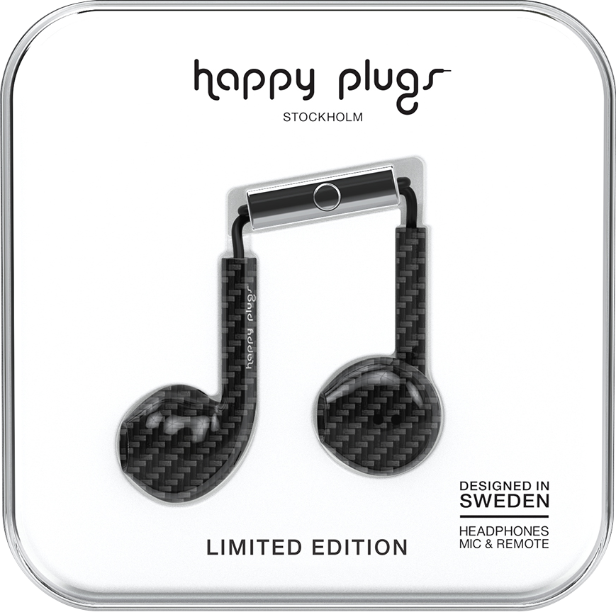 Image For Happy Plugs: Earbuds Plus with Mic - Carbon Fiber