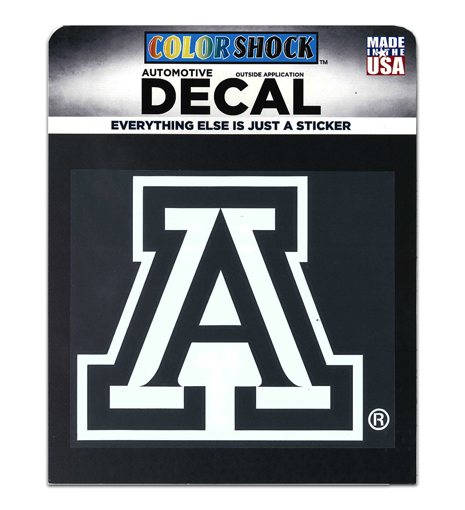 "Image For Decal: Arizona Block A 6"" x 6"" White Outline"