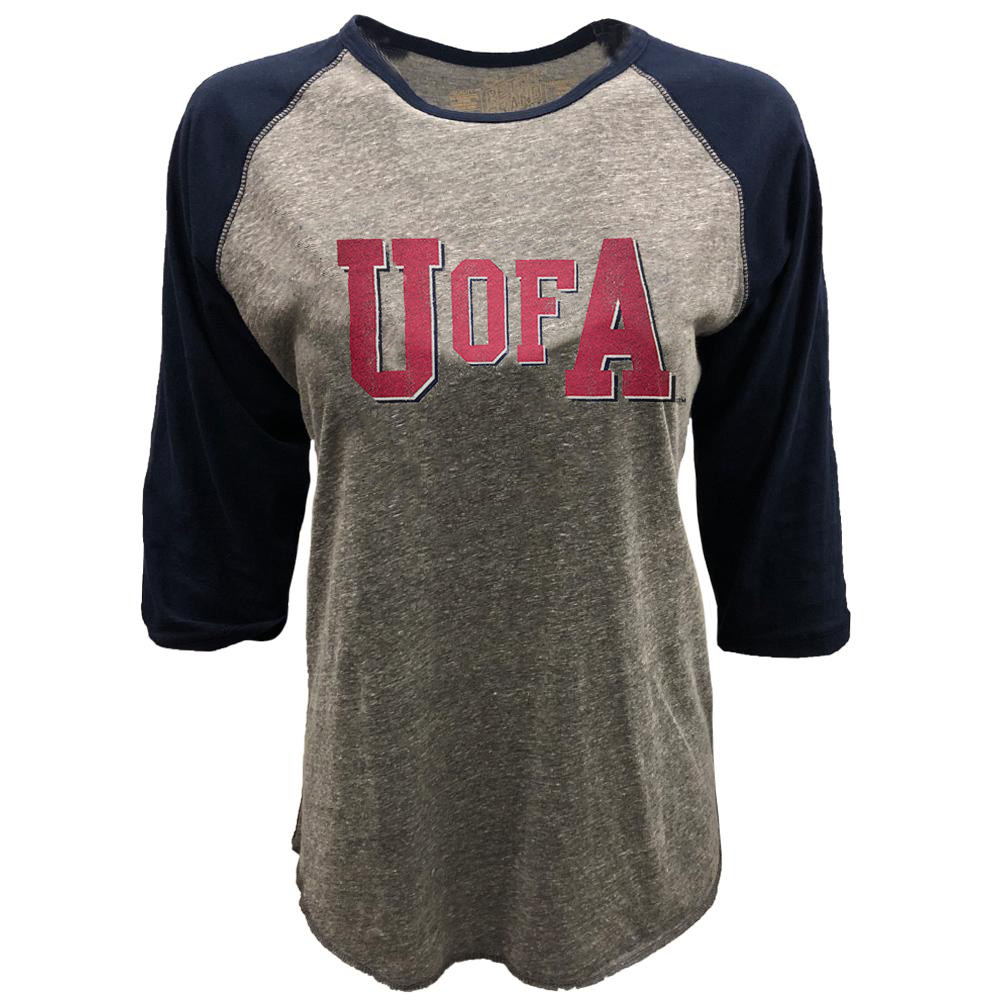 Cover Image For Retro Brand: U of A Vinatage Contrast 3/4 Raglan Tee