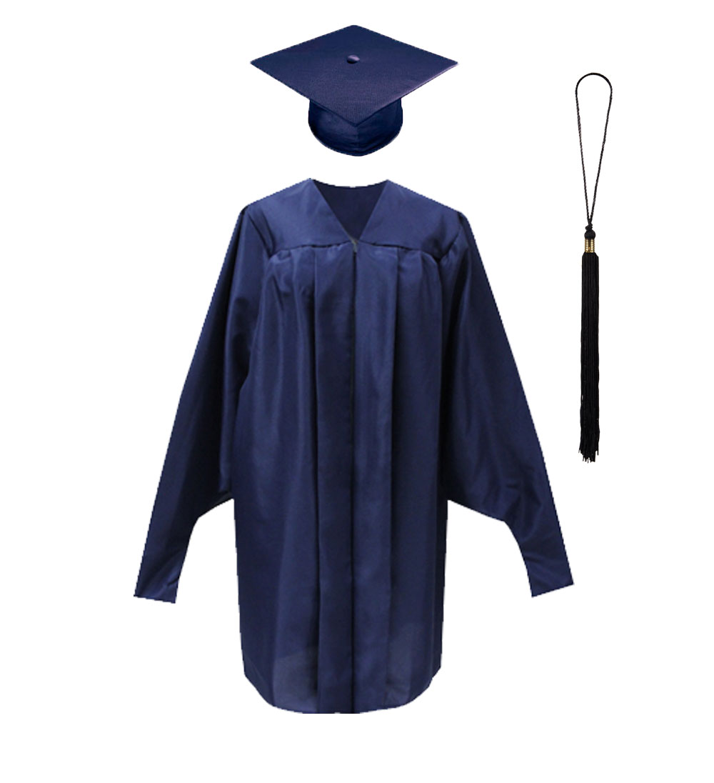Image For Masters Student Navy Cap, Gown and Black Tassel