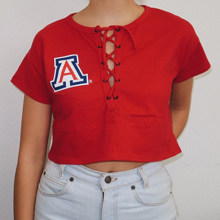 Image For Hype & Vice: Arizona Lace-Up Crop Top - Red