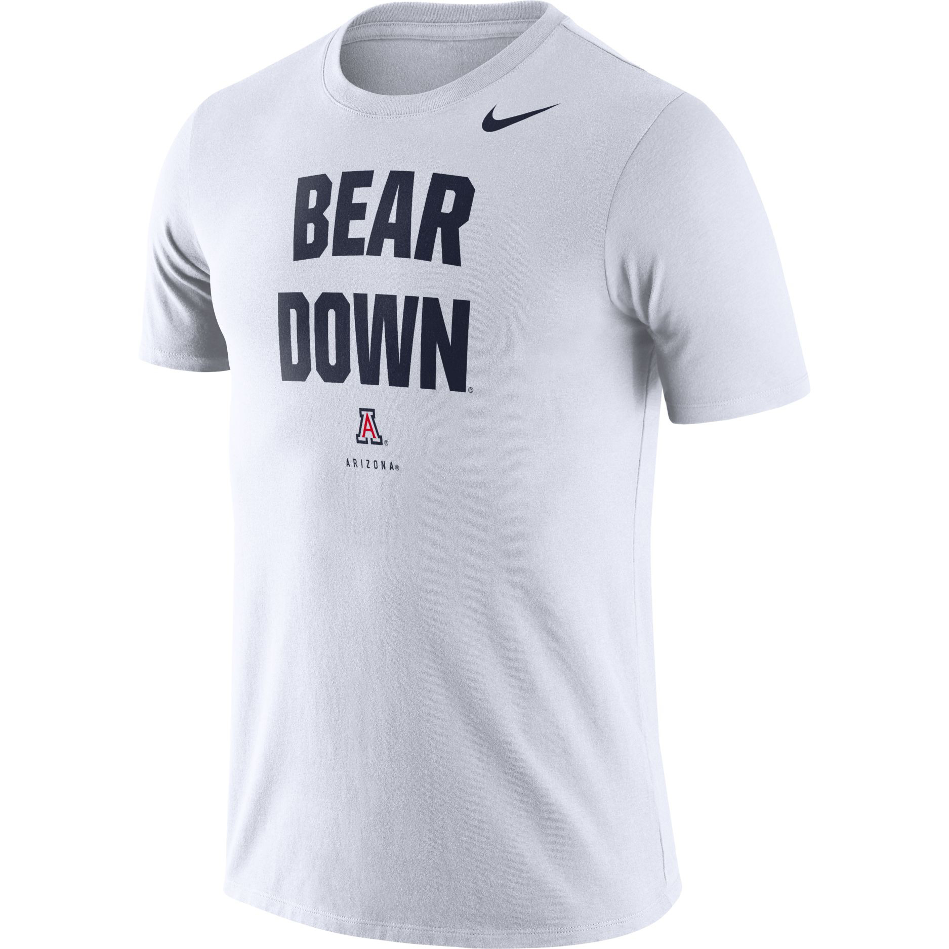 Image For Nike: Arizona BEAR DOWN Logo Dri-Fit Tee - White