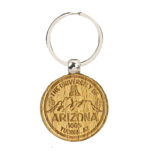 Image For Keychain: Arizona Round Wood A Mountain