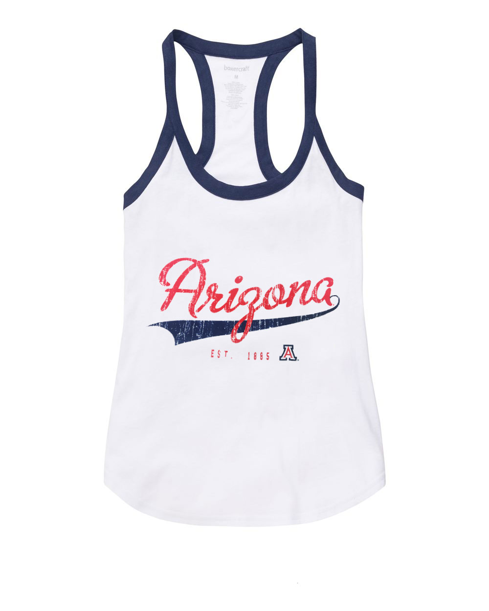 Image For Boxercraft: Arizona Est 1885 Women's Ringer Tank -White/Navy