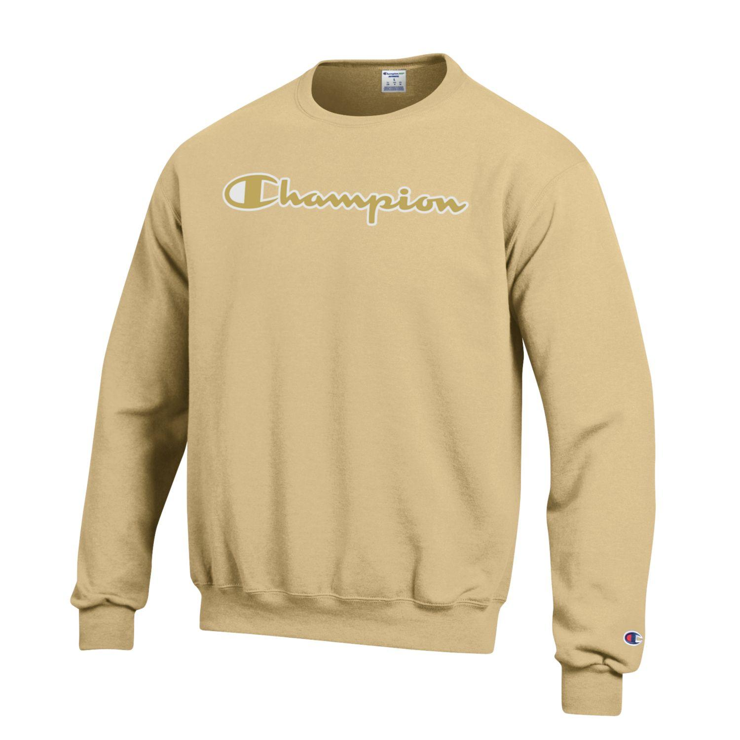 Image For Champion: Eco Powerblend® Crew Script Logo Gold