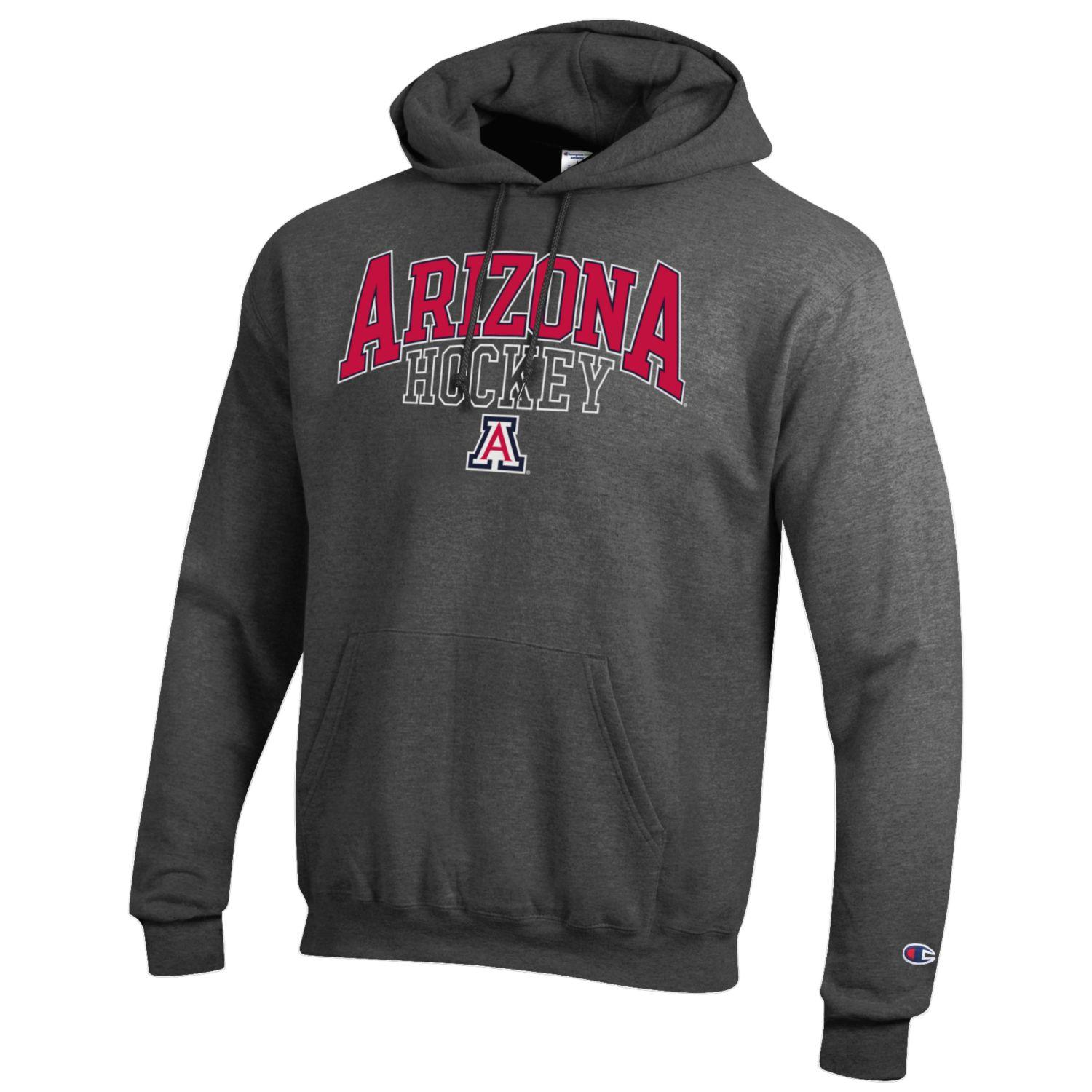 Image For Champion: Arizona HOCKEY Hoodie Sweatshirt - CHarcoal