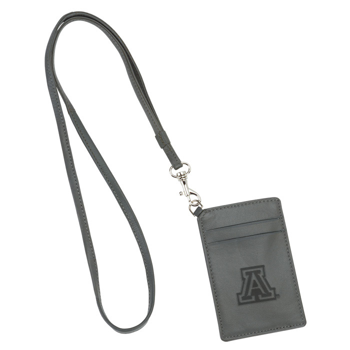 Image For ID Holder: Arizona Embossed Black Leather Lanyard