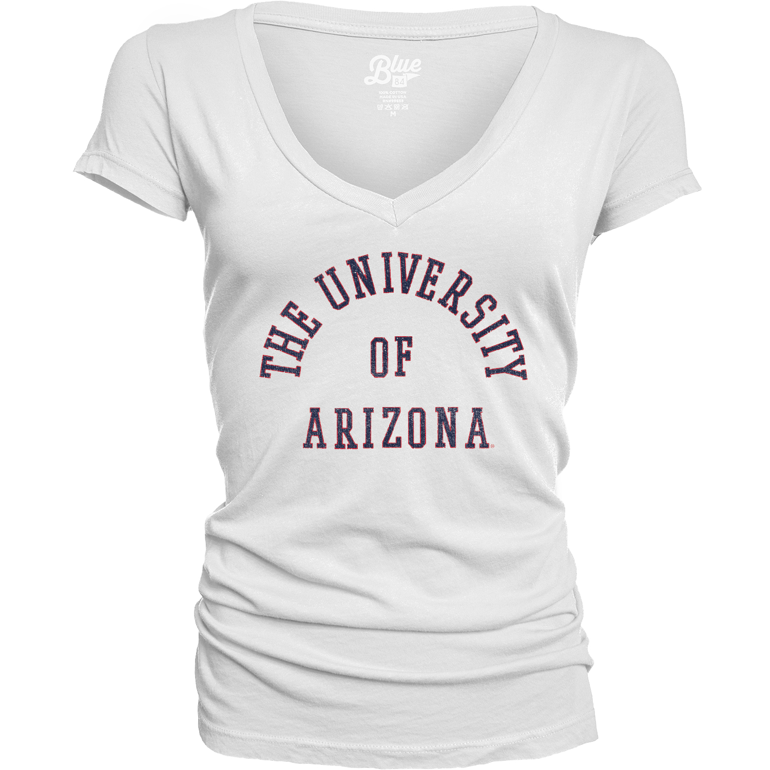 Image For Blue 84: Arizona University of Dyed V-Neck Tee - White