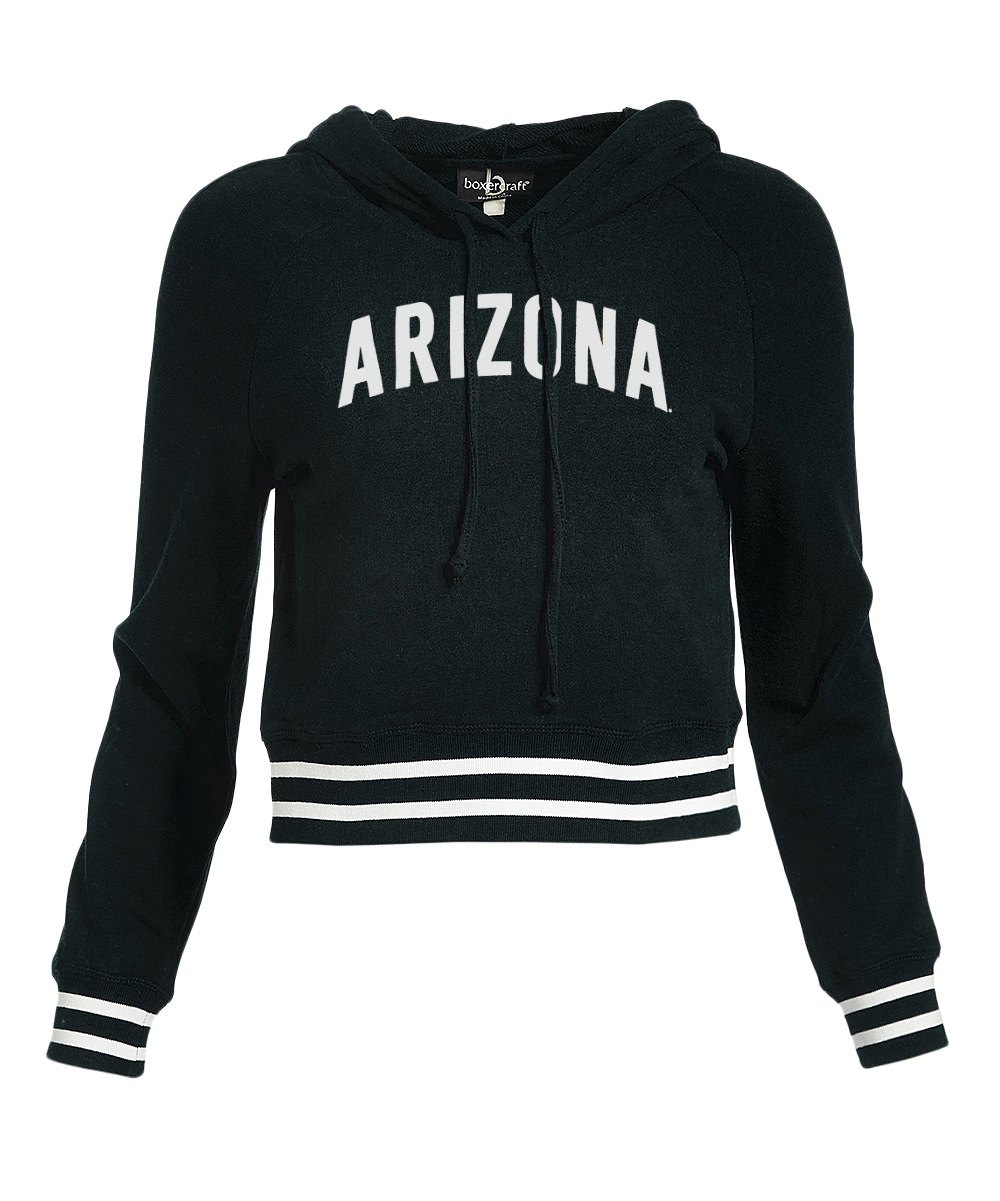 Image For Boxercraft: Arizona Women's Stripe-Cuff Stadium Crop Hoodie