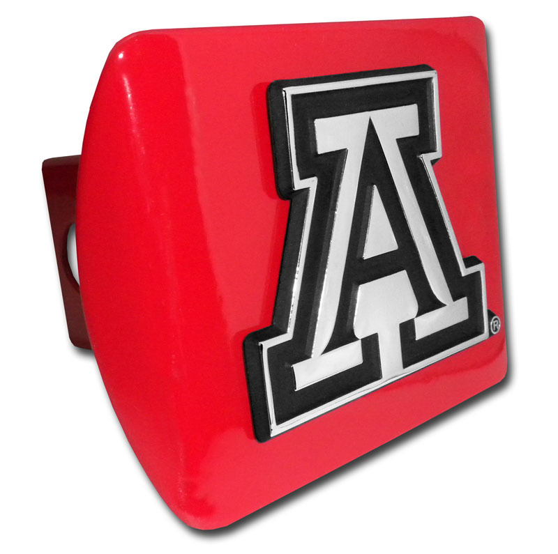 Image For University of Arizona A Emblem on Red Metal Hitch Cover