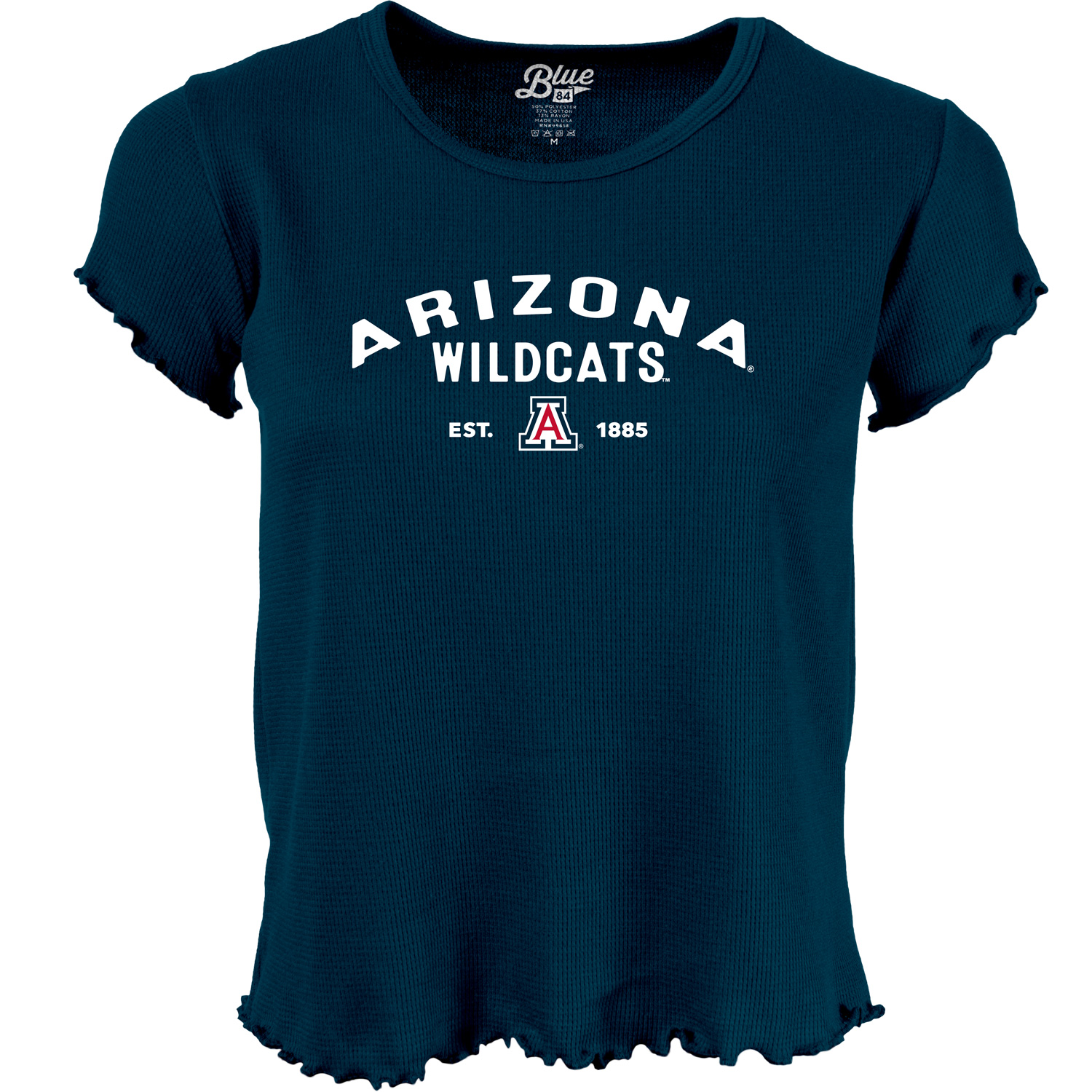 Image For Blue 84: Arizona Wildcats EST. 1885 Women's Lettuce Edge Tee