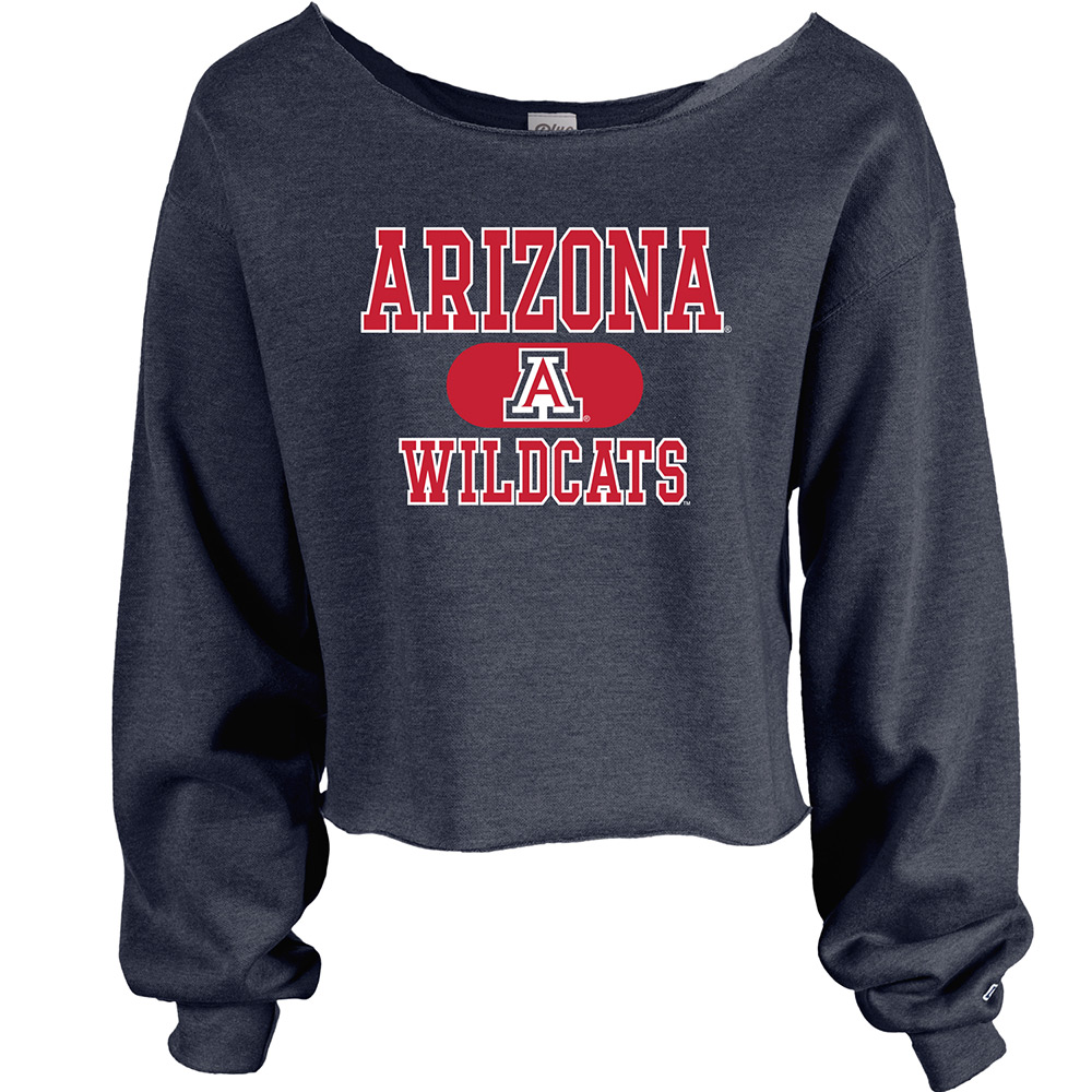 Image For Blue 84: Arizona Wildcats Raw Edge Wide Neck Crew - Navy