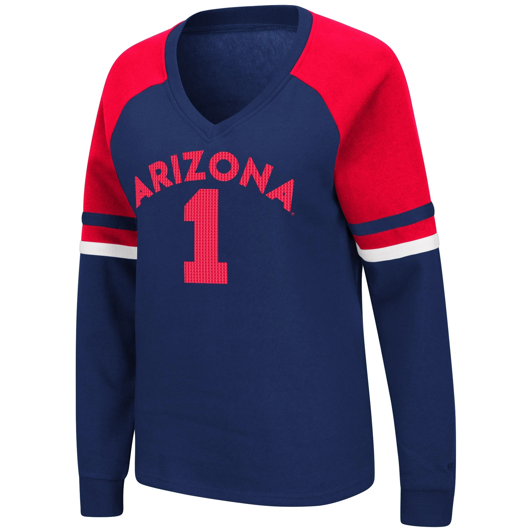 Cover Image For Colosseum: Arizona 1 Marta V-Neck Fleece - Navy/Red