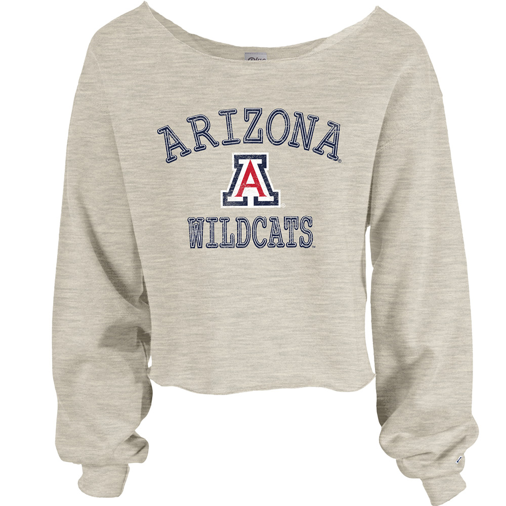 Image For Blue 84: Arizona Wildcats Raw Edge Wide Neck Crew  Oatmeal
