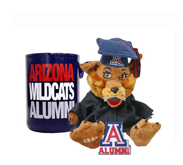 Image For Arizona Graduation Mug, Wilbur Plush and Alumni Pin Bundle