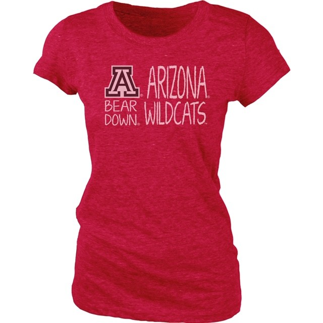 Image For Blue 84: Arizona Wildcats Bear Down V-Neck Jr Tri-Blend Red