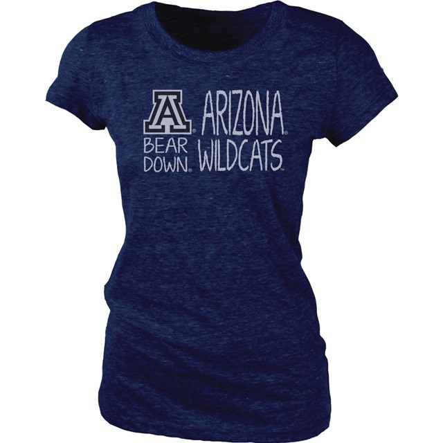 Image For Blue 84: Arizona Wildcats Bear Down V-Neck Jr Tri-Blend Navy