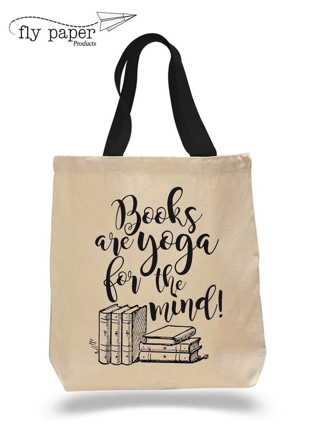 Image For Books are yoga for the mind. Cotton Canvas Book Bag