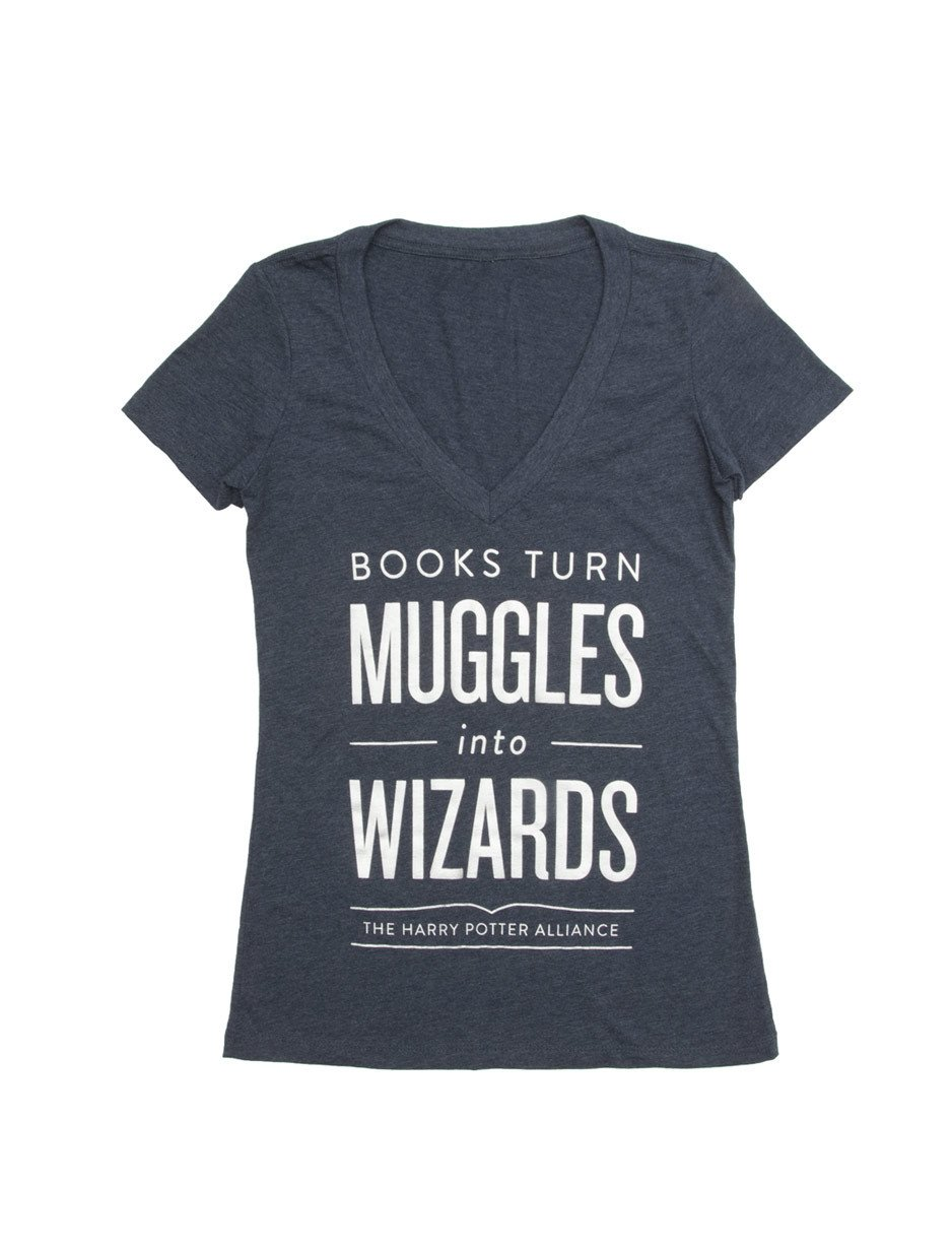 Image For Books Turn Muggles into Wizards Women's V-Neck T-Shirt